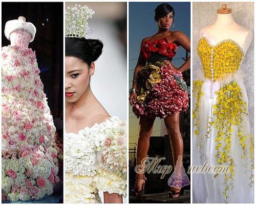 свадебные платья из цветов картинка