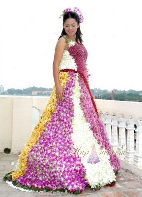 свадебное платье из цветов картинка
